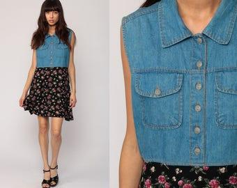 Floral Denim Dress 90s Mini Jean Collar Grunge Vintage 1990s Button Up High Waist Blue Sleeveless Summer Pink Boho Large