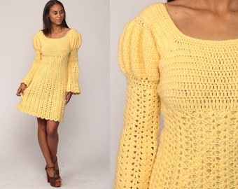 70s Boho Dress Mod Mini SHEER Knit Crochet Sweater Dress 60s Puff BELL SLEEVE Vintage Yellow Cut Out Babydoll Empire Bohemian Small
