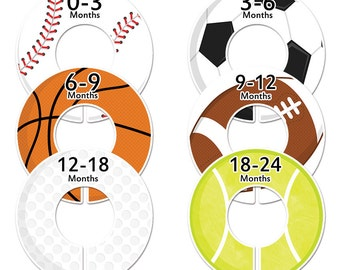 6 Baby closet dividers boy Customizable sports clothes dividers (No.47) Closet Doodles®
