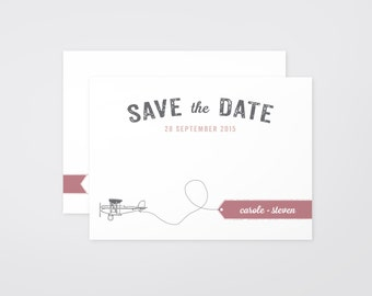 The 'Poppy' Vintage Air Travel Save the Date Announcement (Printable)