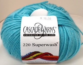 Cascade, Superwash, Wool, Worsted, Aqua Green, 1973