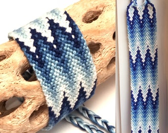 Friendship bracelet - cuff - wide - flame - blue - embroidery floss - handmade - macrame - string - woven - thread - knotted - ombre