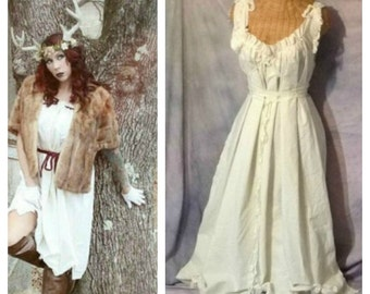 Antler Huntress Dress Lace Up Woodland Greenery Forest Tribal Rustic Custom Corset Silk Ribbons Birdcage Hem Womens Woodland by Savoyfaire