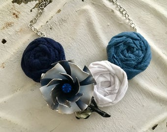 Navy, Light Blue, White, and Dusty Blue,  Fabric Flower Statement Necklace with Vintage Brooch, Bib Necklace, Rolled Rosette Statement Neckl