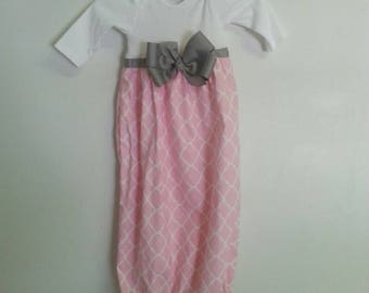 Boutique Pink Quatrefoil Baby Layette soo Pretty great for coming home outfit look choice of color of ribbon