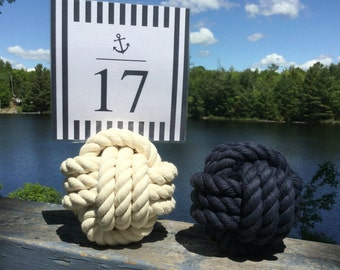 20-24 Table Number Holders -  Blue or Cream - You Choose - 3.75 inch - Nautical Wedding Rope Table Number Holders  - Beach Wedding Decor