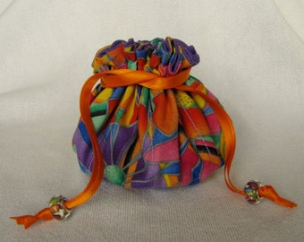 Jewelry Bag - Medium Size - Drawstring Jewelry Pouch - Travel Tote - STAINED GLASS