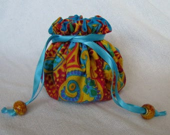Jewelry Bag with Glass Beads - Medium Size - Jewelry Travel Pouch - PAINTED DESERT