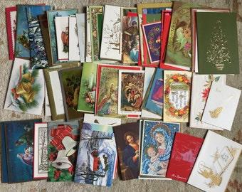 Vintage 1960s Used Christmas Card Lot - Set of 73 / Mid Century Graphics / Ephemera, Scrapbooking, Collage, Set Decor Prop