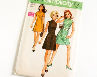 """Vintage 1960s Womens Size 12 Mod Dress Simplicity #8588 Sewing Pattern Complete, b34 w25.5"""" Stand Up Collar Sleeveless Short Sleeve"""