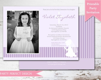 Gray and Pink and Purple Stripes First Communion invitation Announcement - Print Your Own