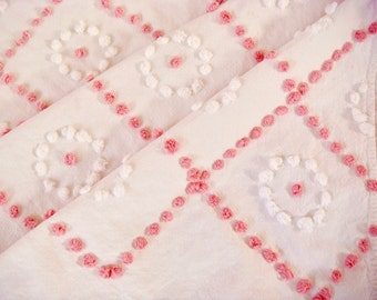 Handmade Candlewick Pink & White Vintage Cotton Chenille Bedspread Fabric 12 x 24 Inches