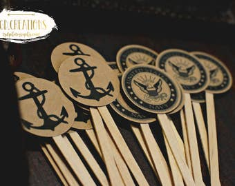 Custom US Navy Anchor Martini Drink Stirrer Cupcake Toppers Food picks Natural Wood 20 piece