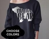 Off Shoulder Sweater Custom Mama Bear Offshoulder Cozy Oversized Sweater Oversize Sweater Sweater Off Shoulder Top Slouchy Sweater Mama Bear