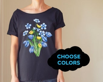 Flowers Tshirt Slouchy T shirt Slouchy Tee Meadow Tee Off Shoulder TShirt Oversized Tshirt Meadow Shirt Funny T-Shirt FunTrendyTees Tops