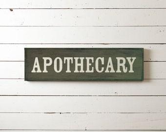 "Wall Sign ""Apothecary"" | Wall Decor, Farmhouse Decor, Joanna Gaines, Fixer Upper Wall Decor, Living Room Decor, Bathroom Sign, Antique Sign"
