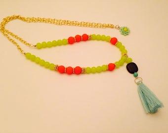 The Namaste Mala Necklace - Long Boho Beaded with Wooden Bead and Tassel