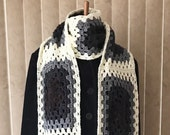 Black and White Super Scarf, Dark and Light Super Scarf, Men's B&W Super Scarf, Ladies Dark and Cream Super Long Scarf, Super Scarf