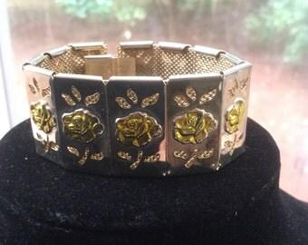 Vintage Rose Floral Link Bracelet 1960s
