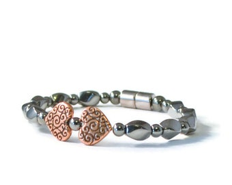 Magnetic Therapy Bracelet with Antique Copper Hearts, Holistic/Health Jewelry