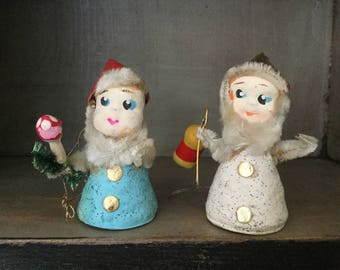 Vintage  Dwarf Christmas Ornaments, Made in Japan, Mid Century Holiday, Gnome Ornament, 1950s Christmas, Shiny Brite, Kitschmas
