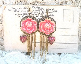 romantic earrings spring pink roses assemblage fringe upcycled vintage jewelry heart cottage chic feminine