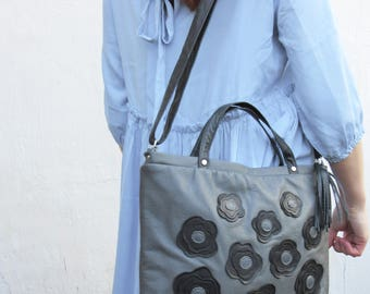 SALE  shoulder bag, womens work purse, leather IPAD TOTE bag, grey leather handbag, womens office leather bag, spring fashion,gift for mom