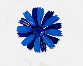 Vintage Enamel Flower Brooch, Blue Flower, Blue Brooch, Blue Jewelry, Costume Jewelry, Casual Jewelry, Casual Brooch, Women's Accessories