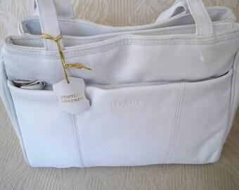 Vintage Purse White Leather Rivage Shoulder Bag