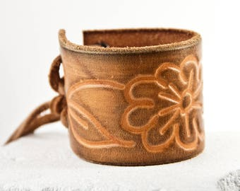 Brown Leather Jewelry Tooled Belt Bracelets Cuffs