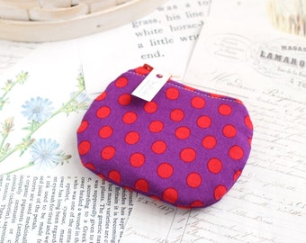 Little Polka Dot Coin Purse Small Zipper Pouch Red and Purple Change Purse
