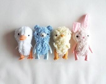 Mini Plush Stuffed Animal Pattern Bundle * 4 Miniature Teddy Bear Patterns * Make Your Own Bear Duck Chick Bunny