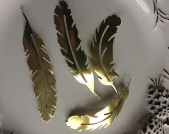 50 vintage gold foil paper feathers