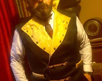 """Steampunk Posh Sweeny Todd  Navy and Gold Waistcoat 36""""- 40"""" Chest."""