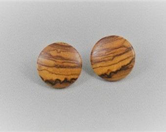 Hand Turned Olive Wood Earrings