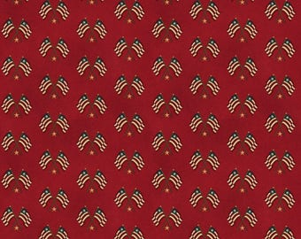 NEW Liberty Hill Quilt Fabric 100% Cotton Americana Over One Yard Cut of Coordinating Red Flags