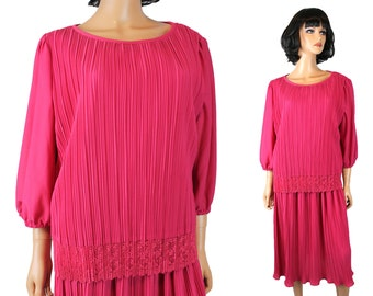 80s Secretary Dress 22 XXL 2X 3X Vintage Hot Pink Pleated Crepe Lace Prom Gown Free Us Shipping