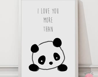 I Love You More than Pandas wall art print - 8 by 10 inch