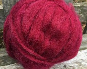 Alpaca Wool Roving, Spinning, Felting, Burgundy