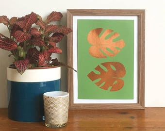 Monstera Copper or Gold Metallic Foil Mini  Print Letterpress Print, Gold Foil Print, plant lover Print, Leaf Pattern, Cheese Plant