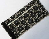 Wrist Wallet, Zippered Wrap Cuff, Hands-free, Secure, Black leather-like with Floral Print and Bird Accent