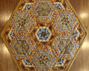Quilted Table Topper, Centerpiece, Pieced Hexagons, Copper, Brown, Turquoise