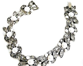 Art Deco Clear Paste Stone and Pearl Bracelet