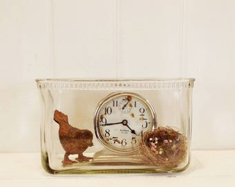 Vintage Glass Battery Jar, Clear Glass Display Case, Small Terraium