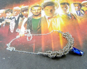 "Doctor Who Weeping Angel Inspired Swarovski Crystal Necklace - ""Don't Blink"""