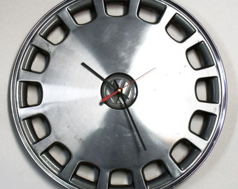 1979 - 1989 VW Hubcap Wall Clock - Volkswagen Jetta Golf Rabbit Hub Cap - 1980 1981 1982 1983 1984 1985 1986 1987 1988