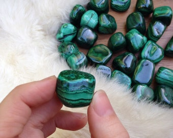 MALACHITE GREEN Crystal & Energy Enhancing Metaphysical Tumbled Pocket Stone