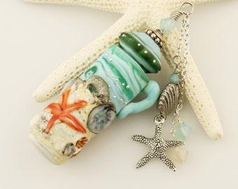 Handmade Lampwork Glass Ocean Beach Vessel, Aromatherapy, Amphora Jar with Cork Lid, Starfish, Swarovski Crystals