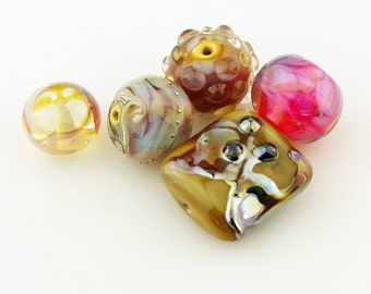 Lampwork Bead Set, Iridescent Hot Pink, Blue, Purple, Black Glass Grab Bag #5