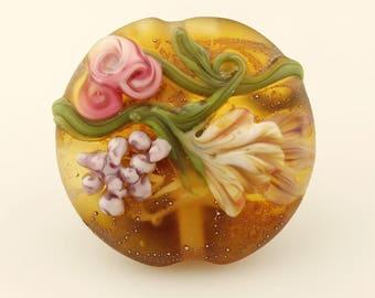 Lampwork Glass Bead,  Floral Lentil Focal, Brown, Green, Pink, Lavender, SRA